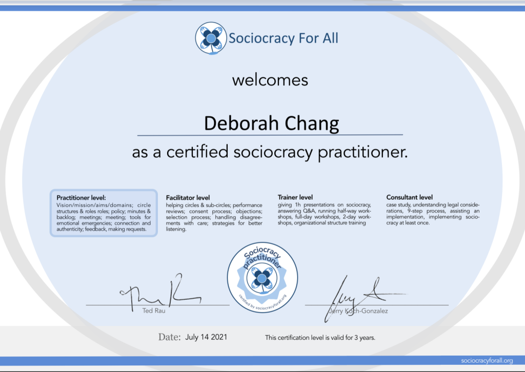 """Sociocracy Practioner Certificate.  Reads Sociocracy For All welcomes Deborah Chang as a certified sociocracy practitioner (highlighted) Practitioner level: Vision/mission/aims/domains; circle structures & roles; policy; minutes & backlog; meetings; meeting; tools for emotional emergencies; connection and authenticity; feedback, making requests. Facilitator level: helping circles & sub-circles; performance reviews; consent process; objections; selection process; handling disagreements with care; strategies for better listening. Trainer level: giving 1h presentation on sociocracy, answering Q&A, running half-way workshops, full-day workshop, 2-day work-shops, organizational structure training Consultant level: case study, understanding legal considerations, 9-step process, assisting an implementation, implementing sociocracy at least once. Signed by Ted Rau and Jerry Koch-Gonzalez Circle badge that contains the Sociocracy for All logo surrounded by """"sociocracy practitioner"""" and """"certified by sociocracyforall.org"""""""
